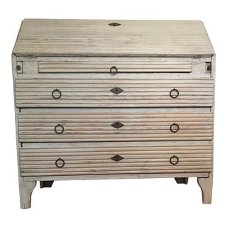 Mid-19th Century Swedish Gustavian Reeded Flip Front Painted Wood Desk Secretarie For Sale