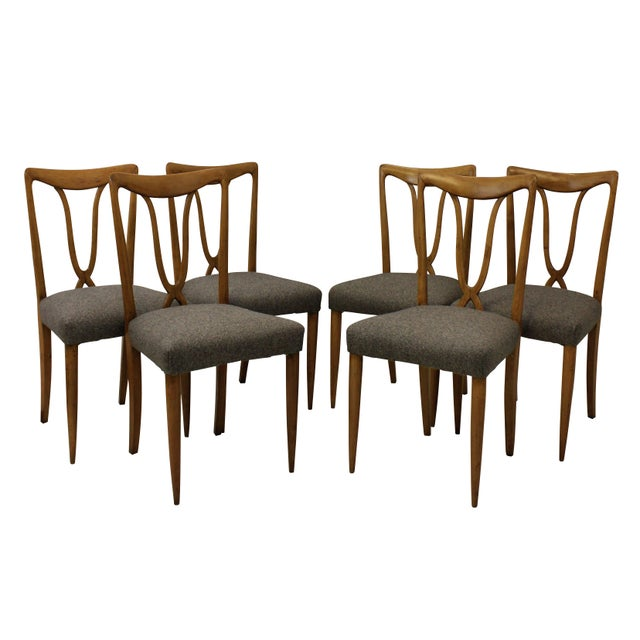 1950s Set of Six Stylish Italian Dining Chairs For Sale - Image 5 of 5