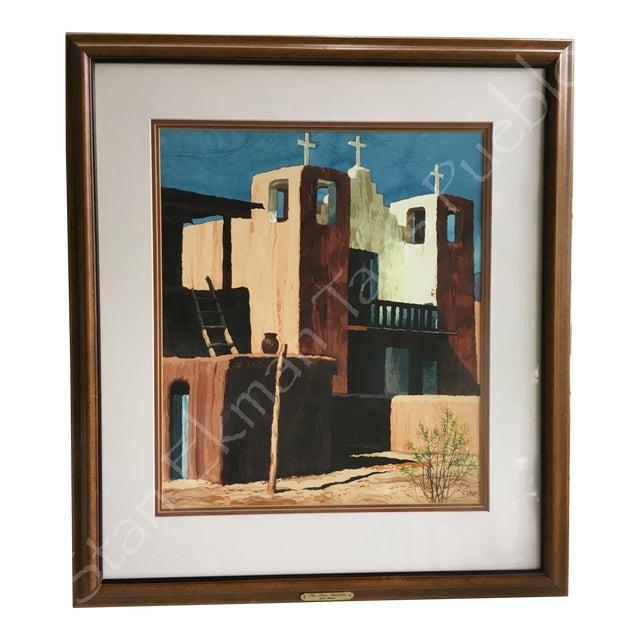 Rare Stanley Ekman the Taos Pueblos Original Watercolor - Image 1 of 11