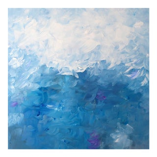 "Contemporary Impressionist Abstract Blue & White Impasto Painting ""Waterlily"""