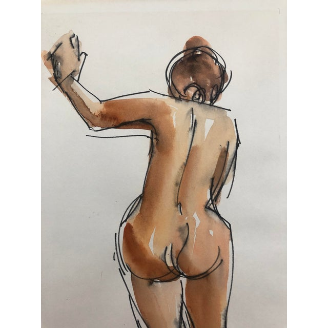 Figurative Standing Female Nude From the Rear by Stanley Brodey, 1950s For Sale - Image 3 of 4