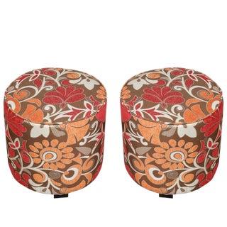 Pair of Cylindrical Stools in Modern Velvet Upholstery For Sale