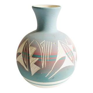 Vintage Blue Navajo Mesa Pottery Vase For Sale
