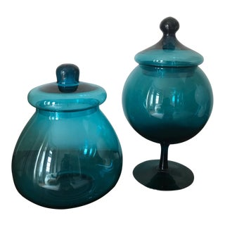 Vintage Blue Apothecary Style Jars - a Pair