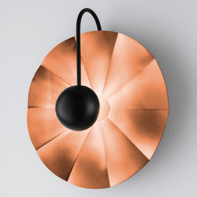 "Not Yet Made - Made To Order Large Reflector Wall Light in Satin Copper With Satin Black (19.7"") For Sale - Image 5 of 6"