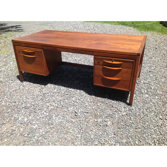 Jens Risom Walnut Executive Desk - Image 6 of 10