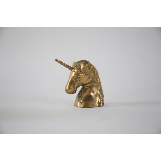 Vintage Brass Unicorn Head Figurine - Image 2 of 4