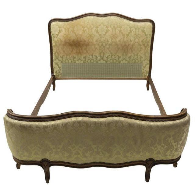 Antique French Louis XV Style Upholstered Bedframe For Sale - Image 4 of 9