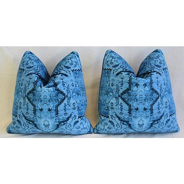 "Early 21st Century Ralph Lauren Royal Blue Velvet Tapestry & Edelman Leather Pillows 20"" Square - Pair For Sale - Image 5 of 12"
