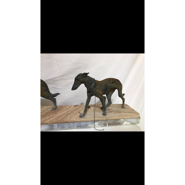 Art Deco Metalware Walking Hounds on Marble Base - Image 3 of 11