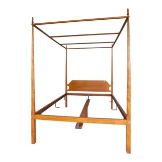 Eldred Wheeler Shaker Style Tiger Maple Queen Size Tester Poster Bed For Sale