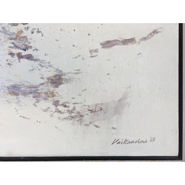 1960s Mid Century Abstract Oil Painting by Anthony Vaiknoras For Sale - Image 5 of 10