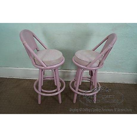Quality set of 4, painted, swivel bar stools w/ upholstered seats.