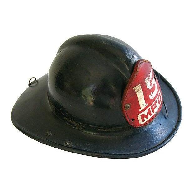 Original Leather Fireman Helmet w/Badge - Image 2 of 7