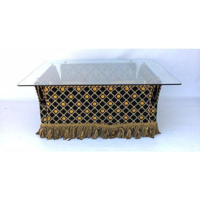 Italian Versace Plush Velvet-Upholstered Knole Glass
