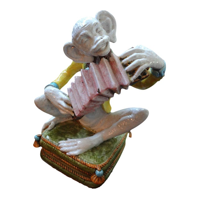 1970s Vintage Glazed Terra-Cotta Monkey Figure For Sale