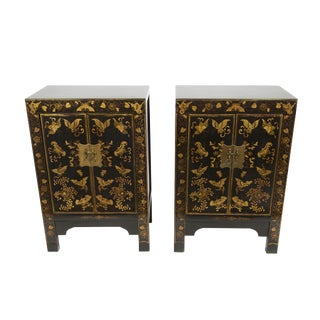 Gold Butterfly & Black Lacquered Cabinets - A Pair