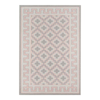 "Erin Gates by Momeni Thompson Brookline Pink Hand Woven Wool Area Rug - 3'6"" X 5'6"" For Sale"