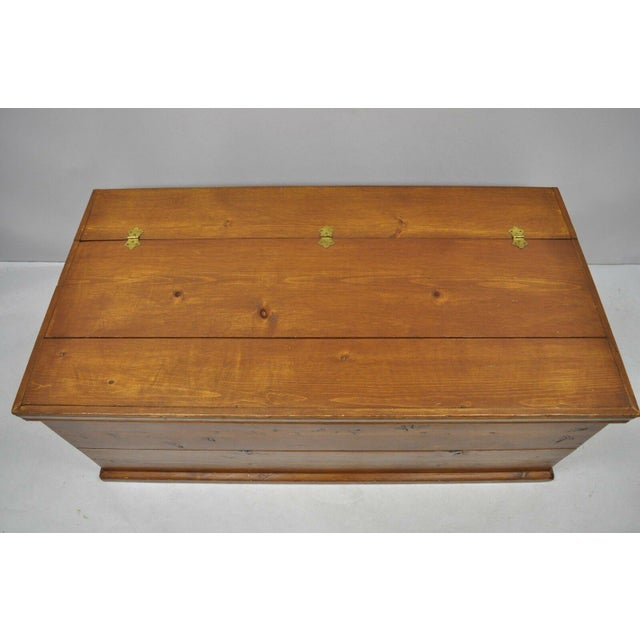 British Colonial Large Vintage Knotty Pine Wood Blanket Chest Trunk Storage For Sale - Image 3 of 12
