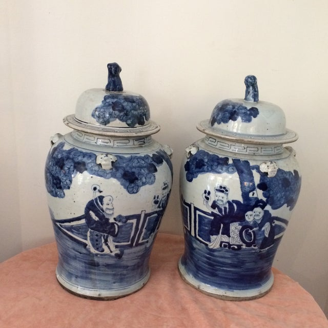 Antique Chinese Blue & White Porcelain Urns - a Pair For Sale - Image 6 of 6