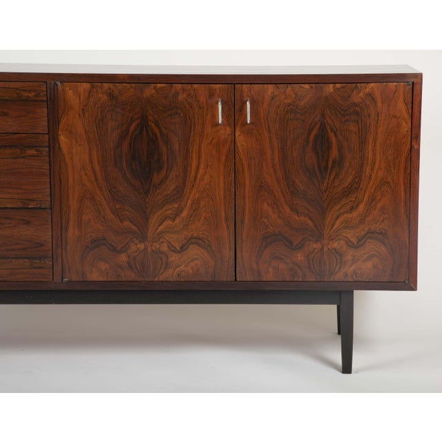 A Mid Century Rosewood Sideboard with Aluminium Pulls Designed by Jack Cartwright. For Sale - Image 10 of 13