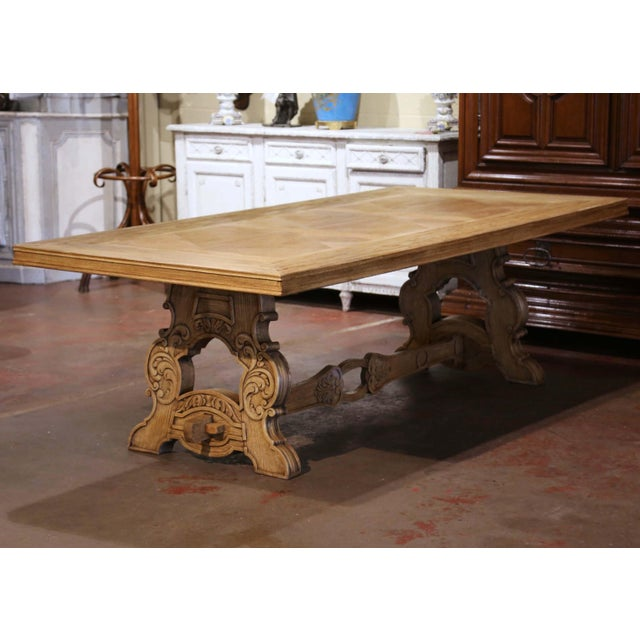 Wood Early 20th Century French Carved Bleached Oak Marquetry Trestle Dining Table For Sale - Image 7 of 13