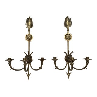 Empire Three Light Candle Wall Sconces - A Pair