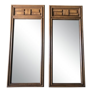 Pair of Vintage Mid Century Modern Brutalist Wall Mirrors For Sale