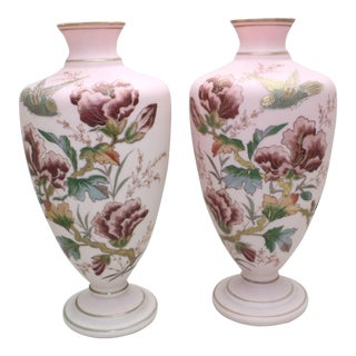 Pair of Handblown Aesthetic Movement Hand-Painted Rose Pink Crystal Vases For Sale
