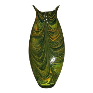 Global Views Green Marbleized Glass Vase For Sale