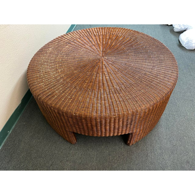 Contemporary Hickory Chair Company Wicker Coffee Table For Sale - Image 3 of 8