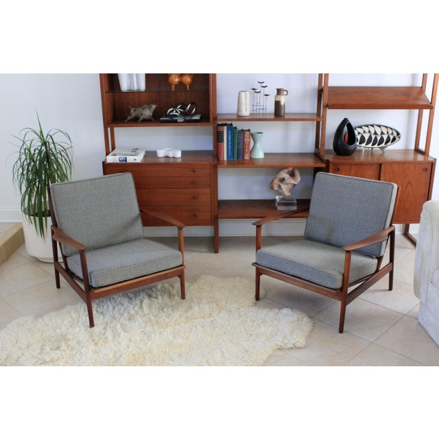 1960s Vintage Danish Modern Kofod Larsen for Selig Walnut Lounge Chairs- a Pair For Sale - Image 10 of 10