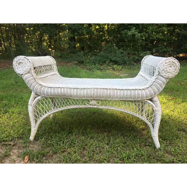 Vintage Scrolled Arm Wicker Bench - Image 2 of 6