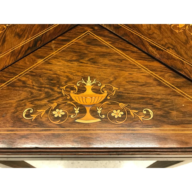 French Rosewood Inlay Handkerchief Game Table For Sale In New York - Image 6 of 8