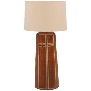 Monumental Glazed Earthenware Lamp For Sale