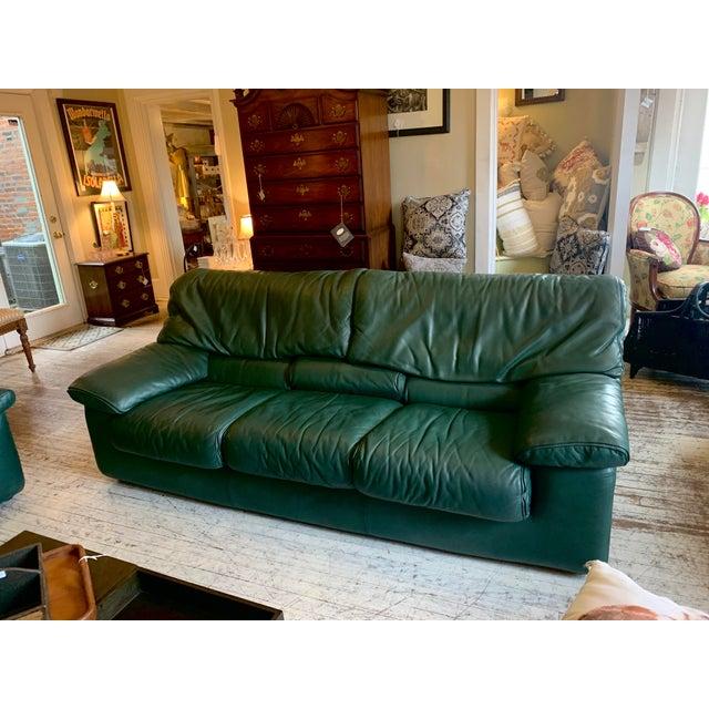Roche Bobois Roche Bobois Green Leather Sofa For Sale - Image 4 of 4