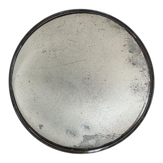 Round Antiqued Glass Convex Mirror For Sale