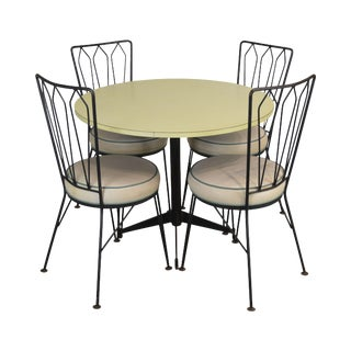 Maurizio Tempestini for Salterini 1950's Wrought Iron Round Table + 4 Chairs Dining Set For Sale