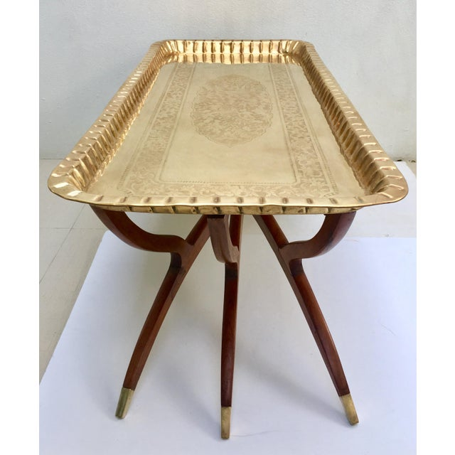 Mid-Century Moroccan Style Etched Brass & Mahogany Spider Table For Sale - Image 4 of 10