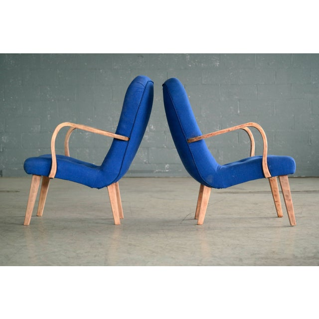 Beech Pair of 1950s Danish Lounge Chairs in the Style of the Clam Chair by Arctander For Sale - Image 7 of 11