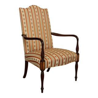 Hickory Chair Co. Mahogany Sheraton Style Mahogany Lolling Armchair For Sale
