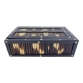 1940s Vintage Anglo Indian Porcupine Quill Rectangular Box For Sale