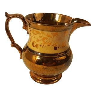 19th Century English Copper Lustreware Pitcher