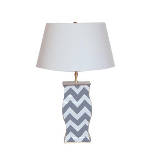 Dana Gibson Grey Bargello Table Lamp For Sale