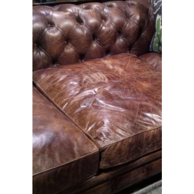Early 20th Century Pair of Monumental Distressed Leather Chesterfield Sofas For Sale - Image 5 of 7