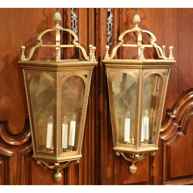 Early 20th Century French Bronze Wall Outside Sconces with Glass - A Pair For Sale - Image 4 of 10