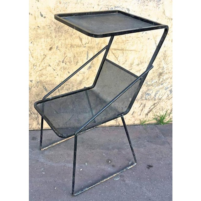Mathieu Matégot Genuine Documented Black Side Table With Rigitule Shelves For Sale - Image 6 of 6
