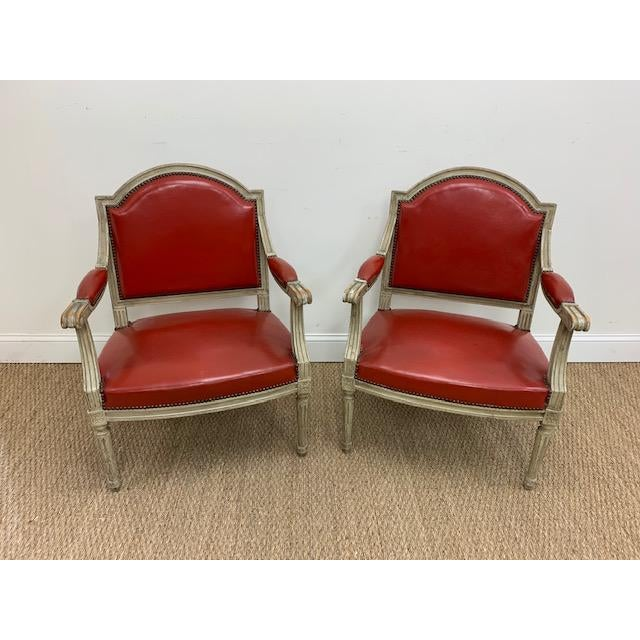 19th Century French Louis XVI Fauteuils Style Chairs - a Pair For Sale - Image 13 of 13