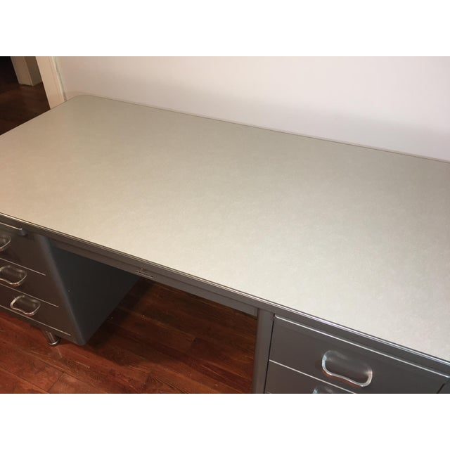 Industrial Steelcase Mid-Century Industrial Tanker Desk For Sale - Image 3 of 11