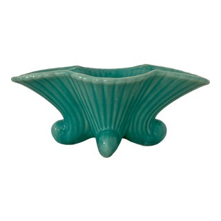 Late 20th Century Aqua Fluted and Flared Planter For Sale